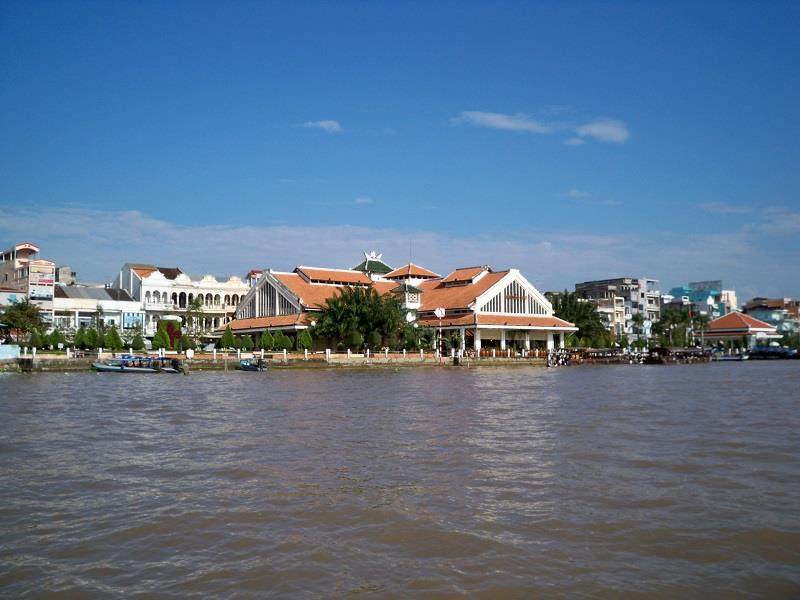 Can Tho Market viewed from Hau River