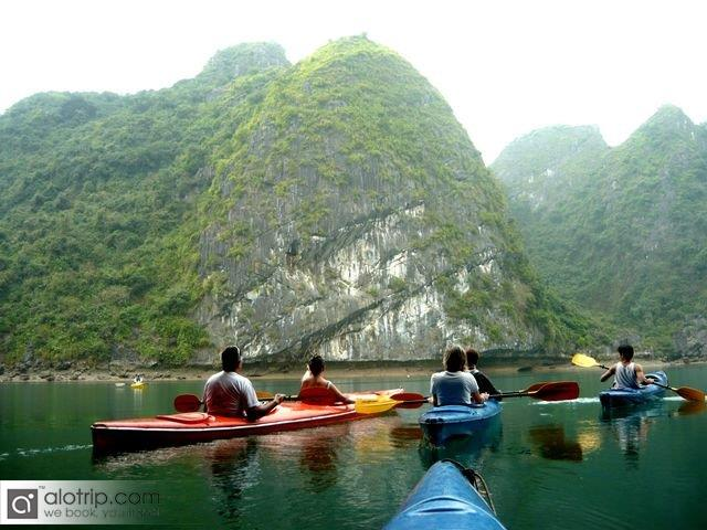 Dipping in Lan Ha Bay with beautiful kayaks