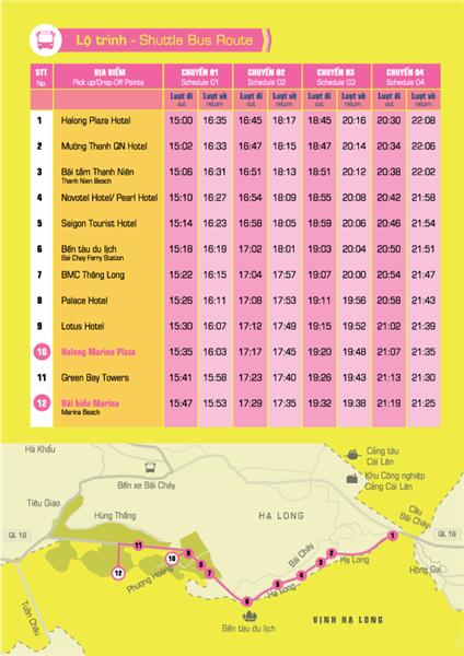 Shuttle bus route in Halong