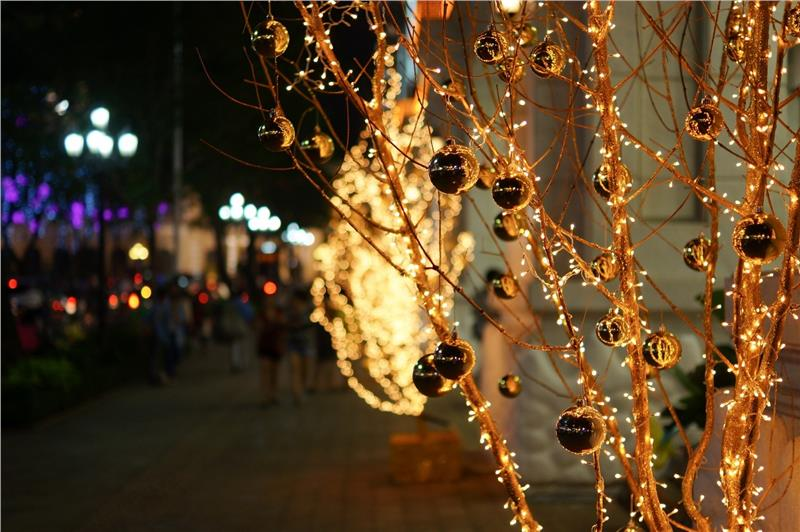 Christmas decorative lights on streets in Ho Chi Minh City