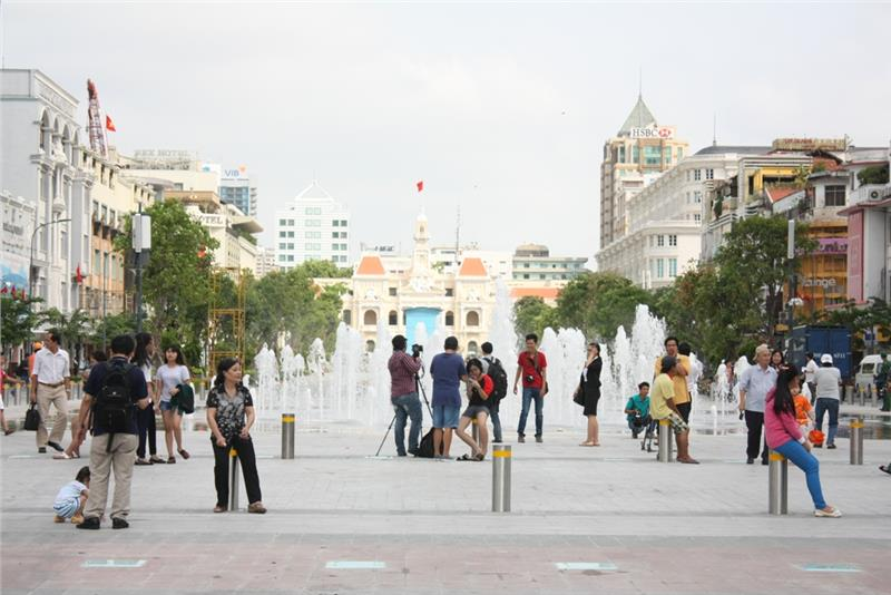 Visitors at Nguyen Hue Walking Street