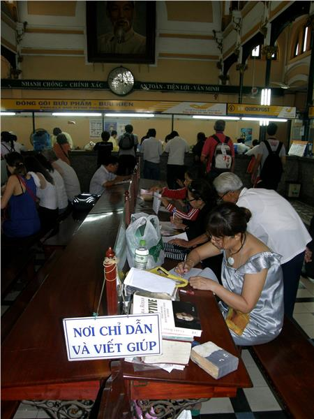 Writing desk in Saigon Central Post Office