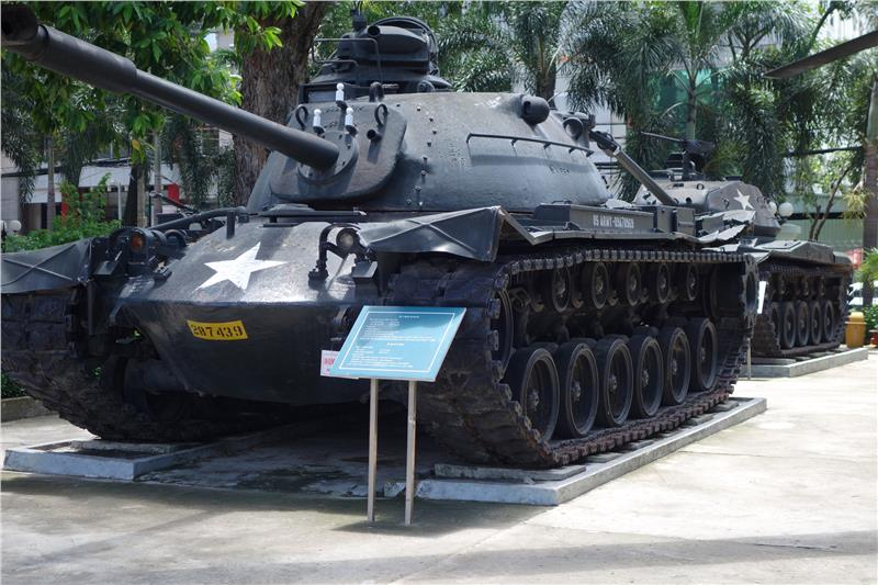 An old tank in War Remnants Museum