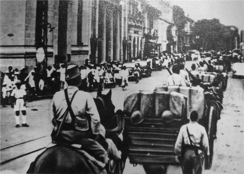 Japanese troops entering Saigon in 1941