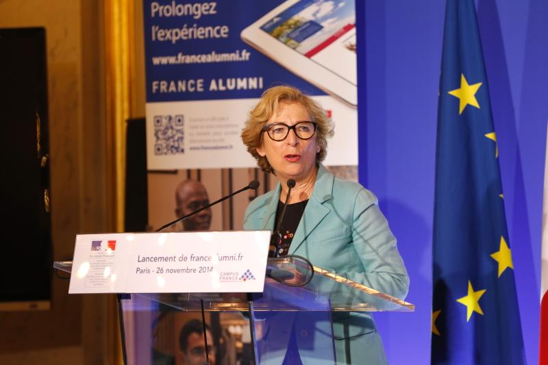 A speaker at the opening ceremony of France Alumni